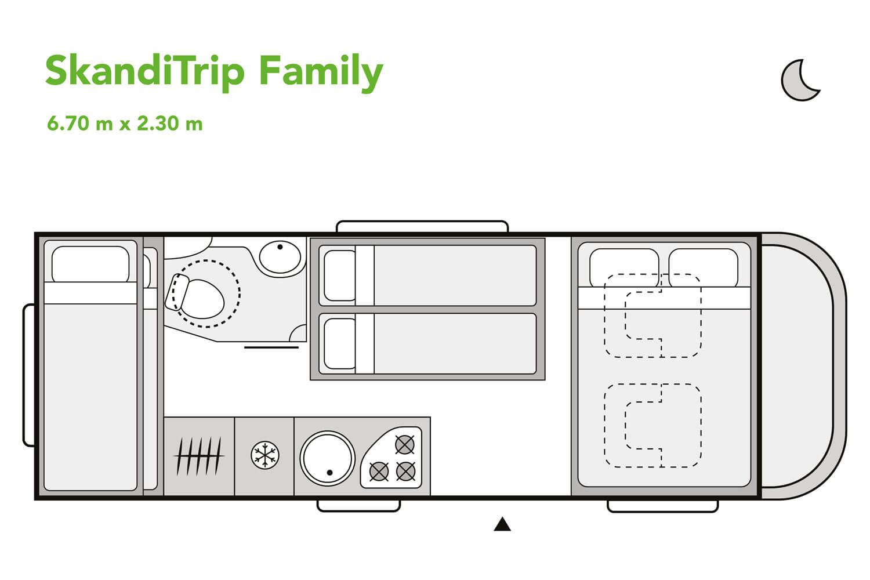 SkandiTrip family motorhome daytime blueprint