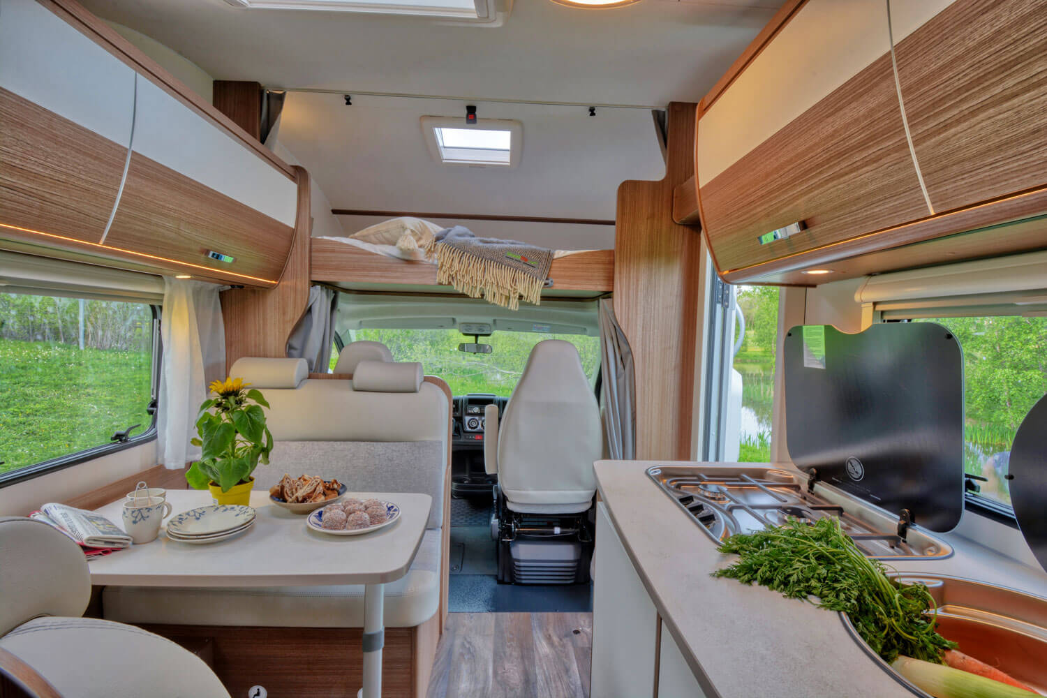 SkandiTrip family motorhome comfortable doublebeds in alcove