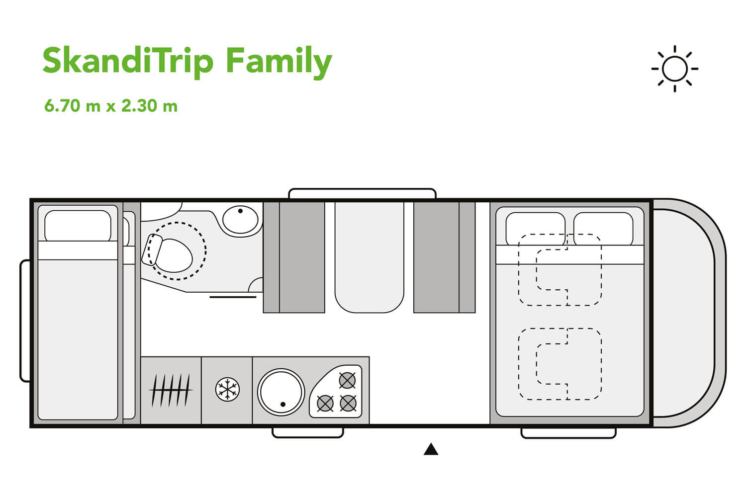 SkandiTrip family motorhome night time blueprint