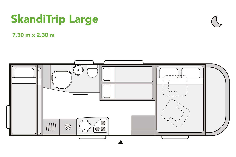 SkandiTrip family plus motorhome night time blueprint