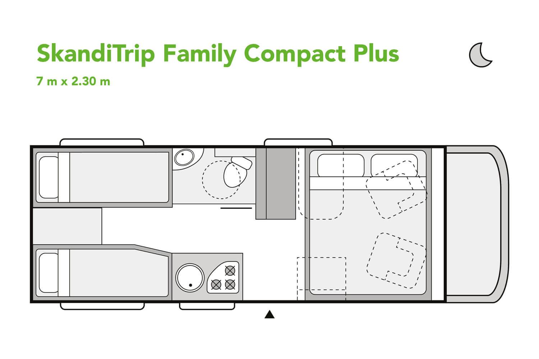 SkandiTrip small motorhome nighttime blueprint
